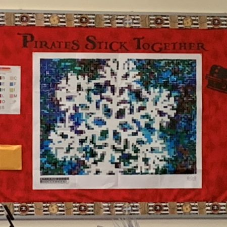 """Finally finished - our """"Pirates Stick Together"""" Collaborative Art Project revealed.  Wonder what we will find next semester?"""