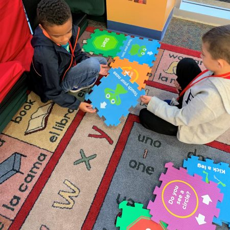Students learn basic coding skills with Code Hopper mats