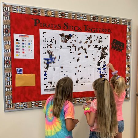 "Students work our our collaborative sticker art project - ""Pirates Stick Together"""